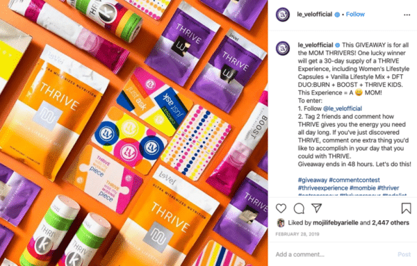 Instagram viral giveaway post from Le-Vel Brands products and gift cards