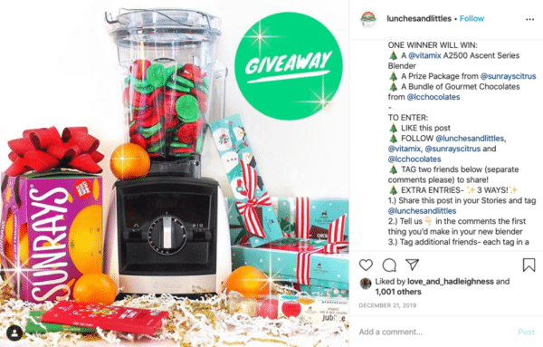 Instagram viral giveaway post from Lunches + Littles with Sunrays bundle chocolates and blender