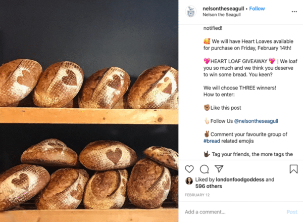Instagram viral giveaway post from Nelson the Seagull with loaves giveaway