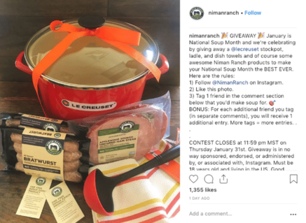 Instagram viral giveaway post from Niman Ranch with sausage, ham and casserole giveaway