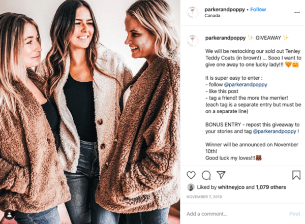 Instagram viral giveaway post from Parker and Poppy three ladies talking