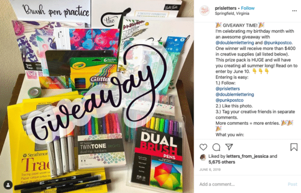 Instagram viral giveaway post from Pris Letters with colouring books pens and materials giveaway