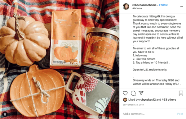 Instagram viral giveaway post from Rebecca Anne with mug and pumpkin design giveaways