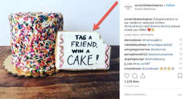 Instagram viral giveaway post from Scratch Bakeshop with colourful cake that says tag a friend, win a cake