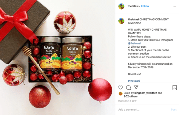 Instagram viral giveaway post from Talasi with red colored balls and watu honey products giveaway
