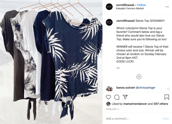 Instagram viral giveaway post from Vermilli with blue white black stevie tops giveaways