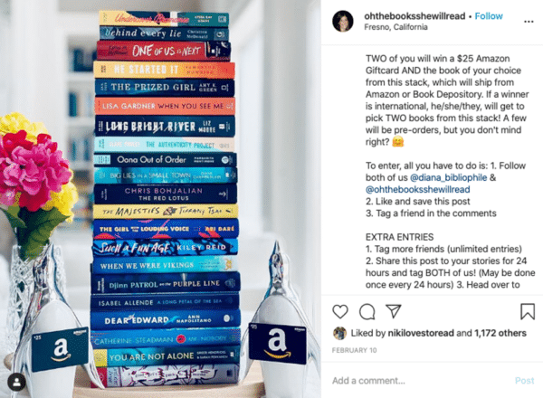 Instagram viral giveaway post from oh the book she will read flowers and books with amazon gift card