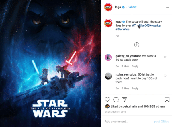 Lego Instagram post star wars the rise of skywalkers
