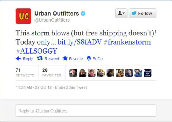Urban Outfitters post about storm and free shipping brand newsjacking