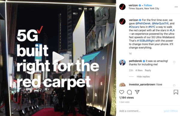 Verizon Instagram post 5G right for the red carpet