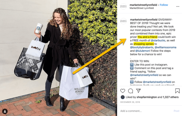 Marketstreetlynnfield Instagram post with a girl holding a shopping bag