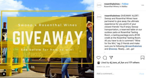 Rosenthalwines Instagram post food and wine giveaway experiences as prizes