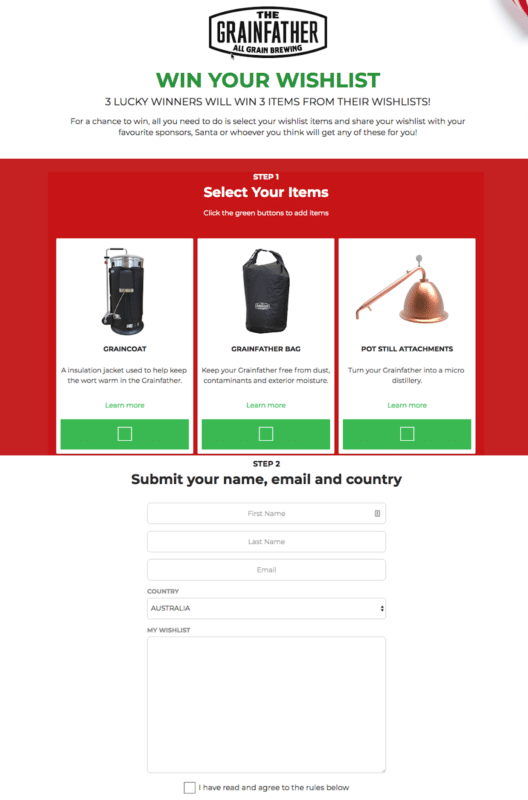 The Grainfather Product preferences win your wishlist graincoat, bag and pot still attachments