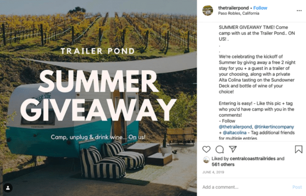Thetrailerpond Instagram post about summer giveaway cozy trailer in the field
