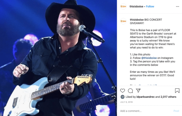 Thisisboise Instagram post with a man with his band in concert playing guitar
