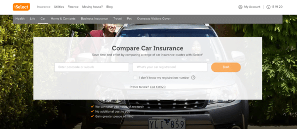 iSelect site after choosing Car Insurance for qualifying information