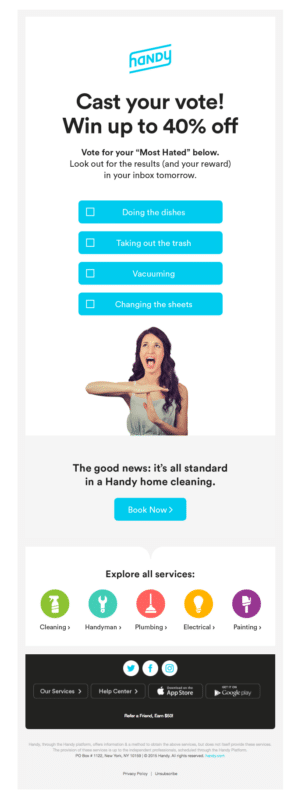 Handy's automated communication survey for customers