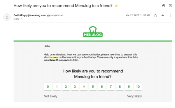 Menulog email asking customers for reviews and recommendations