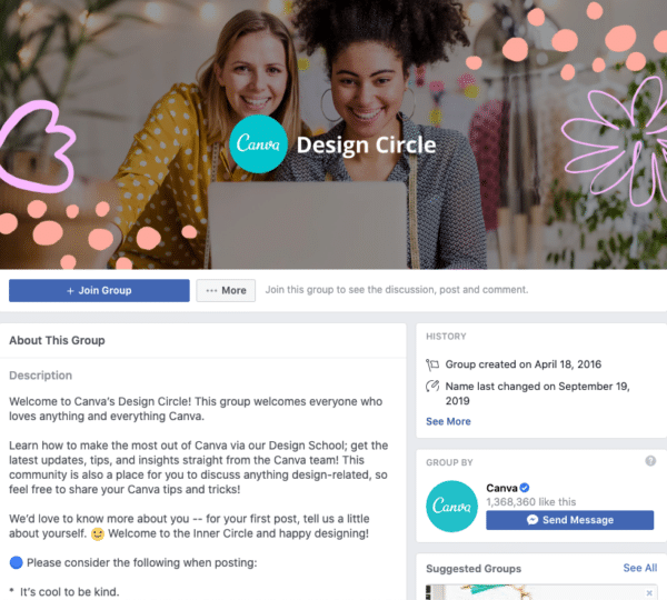 Design circle facebook group over 16000 members building a community for canva designers
