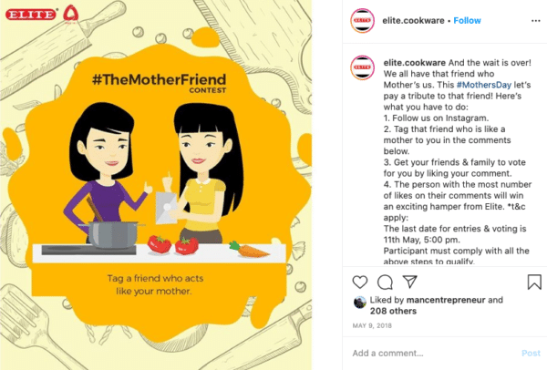 Elite cookware the mother friend contest Instagram