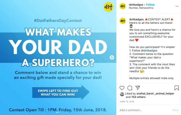 Instagram nomination contests for fathers day from Dot Badges