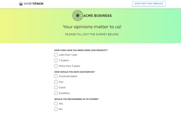 ShortStack acme business collection and application of feedbacks