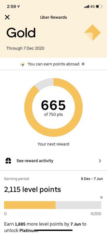 Uber customer rewards point gold 665 points