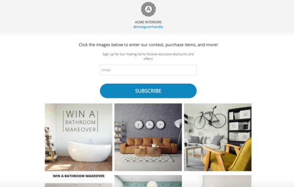ACME interiors Interactive gallery landing page