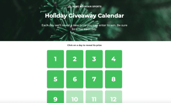 Acme Mountain Sports Holiday Giveaway Calendar Content Landing Page