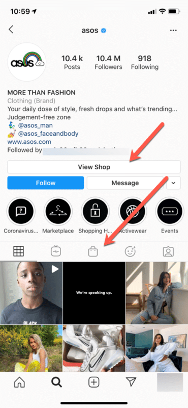 Asos Instagram page view shop shoppable posts