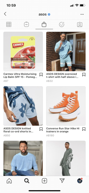 Asos shoppable posts in-app buying experience in Instagram