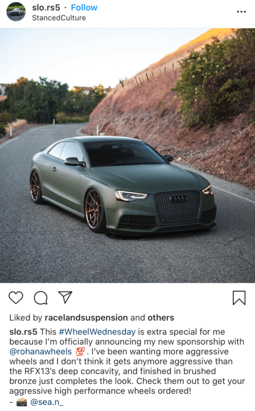 Instagram influencer slo.rs5 promoting tires with photo of a car
