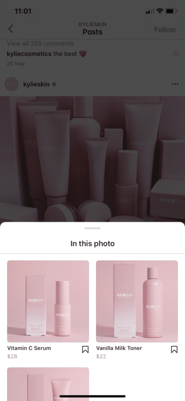 kylieskin products using shoppable posts in Instagram