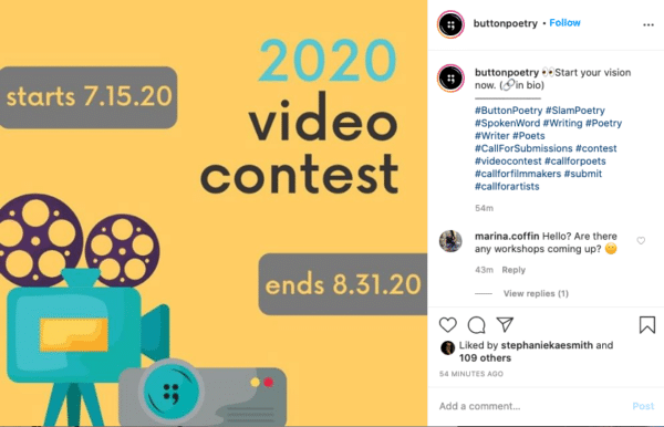 Button Poetry 2020 Yearly Video Contest On Instagram