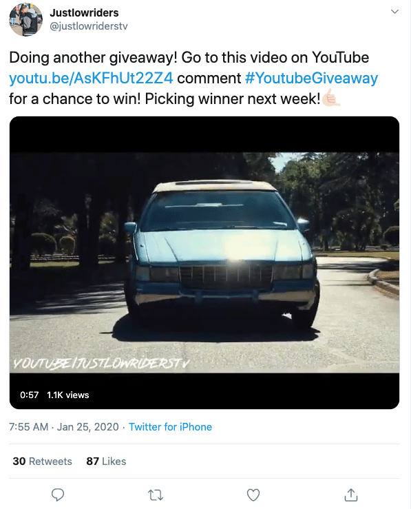 Justlowriders twitter account cross-promoting on other channels